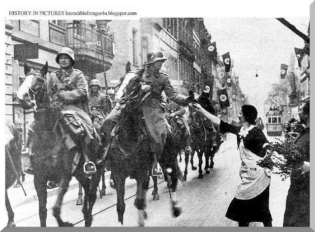 German troops being welcomed in Austria