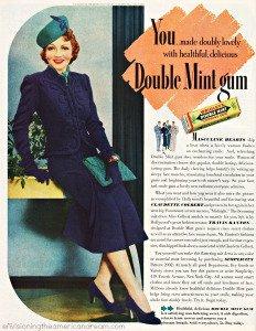 Chewing gum ad featuring Claudette Colbert